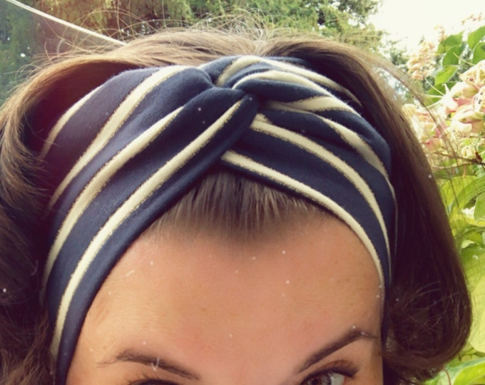 Navy with Stripes Golden Inserts Knotted Headband, Turban Headband, Fabric Headband, Sports/Yoga headband, Mother's Day Gift, Women's Gift