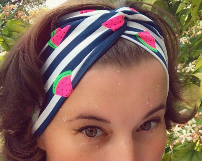 Watermelons and Stripes Knotted Headband, Turban Headband, Fabric Headband, Sports/Yoga headband, Mother's Day Gift, Women's Gift
