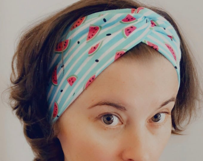 Watermelon Knotted Headband, Turban Headband, Fabric Headband, Sports/Yoga headband, Mother's Day Gift, Women's Gift