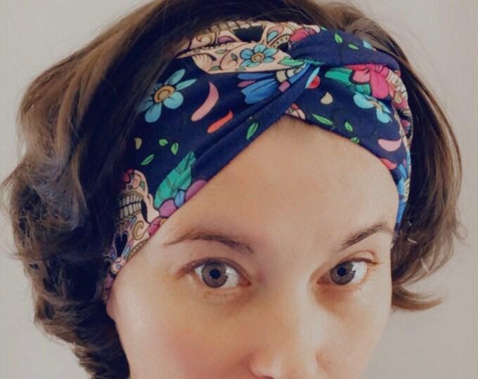 Dark blue sugar skulls Knotted Headband, Turban Headband, Fabric Headband, Sports/Yoga headband, Mother's Day Gift, Women's Gift
