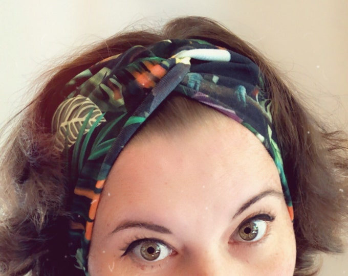 Jungle and Birds Toucans Knotted Headband, Turban Headband, Fabric Headband, Sports/Yoga headband, Mother's Day Gift, Women's Gift