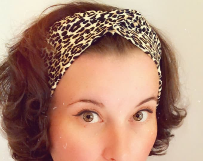 Leopard print Knotted Headband, Turban Headband, Synthetic Fabric Headband, Sports/Yoga headband, Mother's Day Gift, Women's Gift