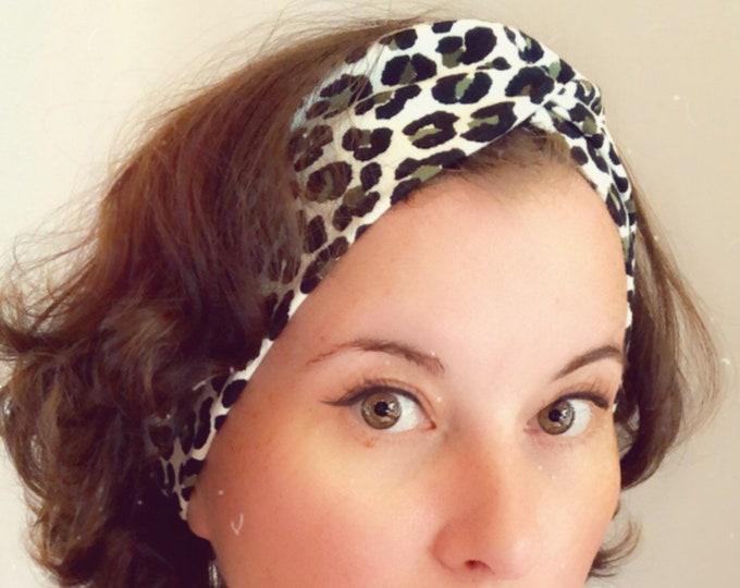 Leopard print black and white, Knotted Headband, Turban Headband, Fabric Headband, Sports/Yoga headband, Mother's Day Gift, Women's Gift