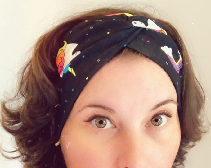 Black with unicorns and rainbows Knotted Headband, Turban Headband, Fabric Headband, Sports/Yoga headband, Mother's Day Gift, Women's Gift
