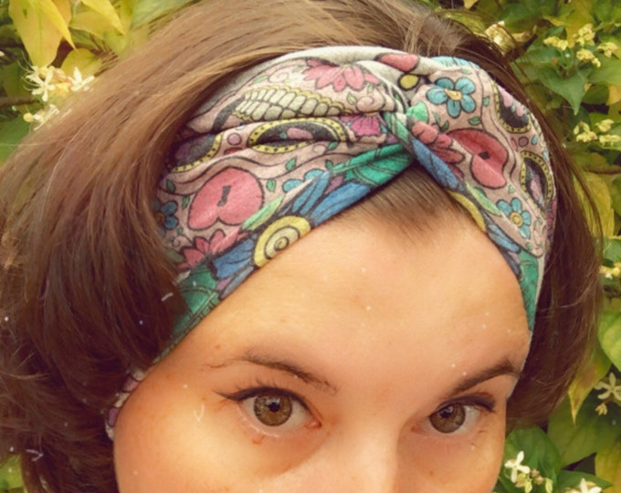 Sugar skulls grey Knotted Headband, Turban Headband, Fabric Headband, Sports/Yoga headband, Mother's Day Gift, Women's Gift