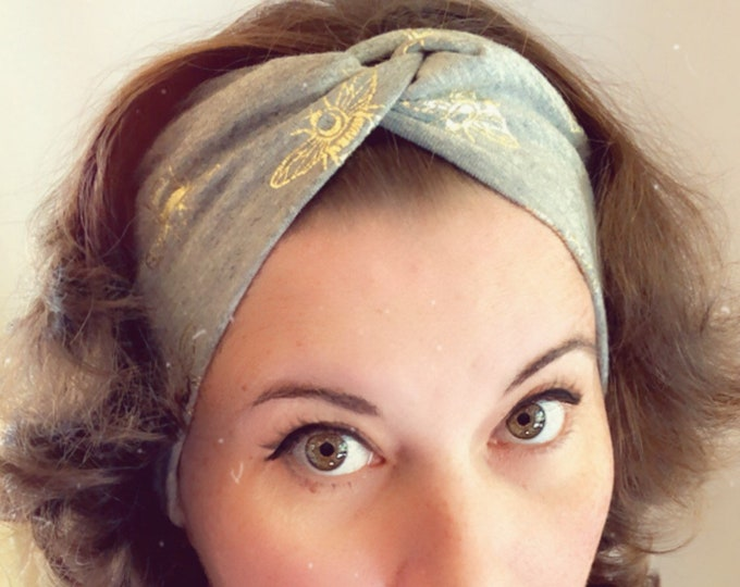 Grey with golden bees Knotted Headband, Turban Headband, Fabric Headband, Sports/Yoga headband, Mother's Day Gift, Women's Gift