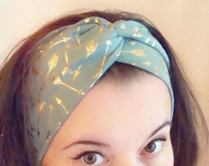 Green sage with golden foil arrows Knotted Headband, Turban Headband, Fabric Headband, Sports/Yoga headband, Mother's Day Gift, Women's Gift
