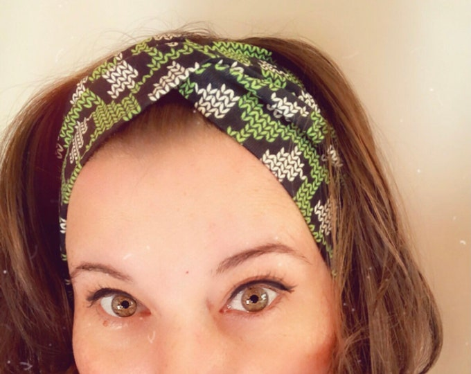 Green and Black Knitted Print Knotted Headband, Turban Headband, Fabric Headband, Sports/Yoga headband, Mother's Day Gift, Women's Gift