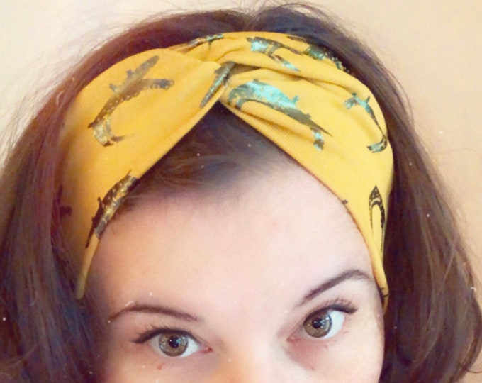 Yellow & foil green crocodiles Knotted Headband, Turban Headband, Fabric Headband, Sports/Yoga headband, Mother's Day Gift, Women's Gift