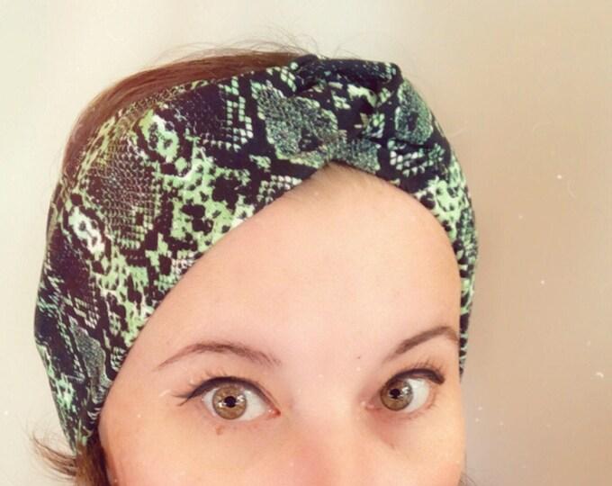 Green Snake Print Knotted Headband, Turban Headband, Fabric Headband, Sports/Yoga headband, Mother's Day Gift, Women's Gift