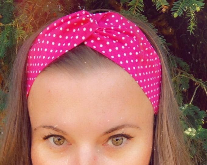 Cotton Pink with Polka Dots Knotted  Elasticated Headband, Turban Headband, Fabric Headband, Mother's Day Gift, Women's Gift