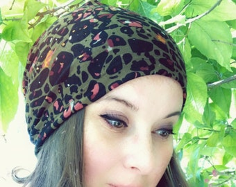 Abstract Leopard Slouchy Hat for Hot and Cold Weather, Chemo Sleeping Hat, Women's Hat, Mens Baggy Beanie, Hipster Fashion, Kids Hat