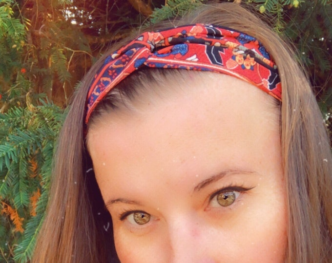 Red and Black with Flowers Knotted  Elasticated Headband, Turban Headband, Fabric Headband, Mother's Day Gift, Women's Gift