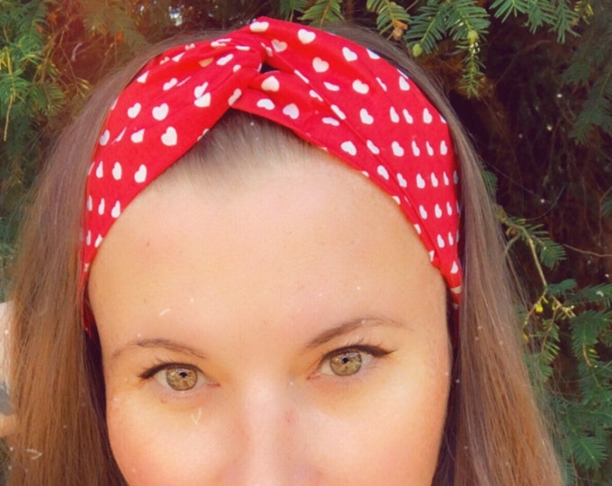Cotton Red with Hearts Knotted  Elasticated Headband, Turban Headband, Fabric Headband, Mother's Day Gift, Women's Gift