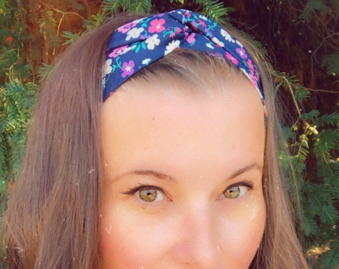 Cotton Navy with Flowers Knotted  Elasticated Headband, Turban Headband, Fabric Headband, Mother's Day Gift, Women's Gift