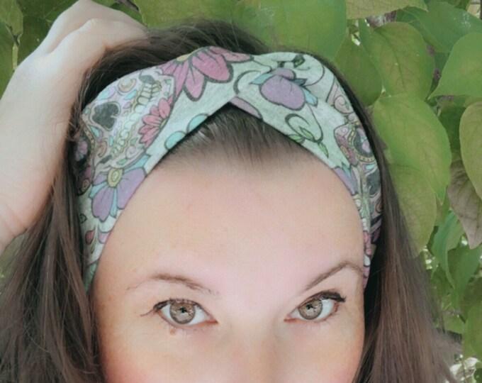 Sugar skulls grey Knotted Headband, Turban Headband, Fabric Headband, Sports/Yoga headband, Mother's Day Gift, Women's Gift
