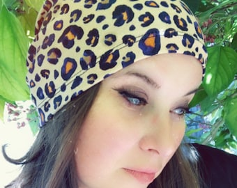 Pink Leopard Slouchy Hat for Hot and Cold Weather, Chemo Sleeping Hat, Kids Hat, Mens Baggy Beanie, Hipster Fashion, Kids Hat