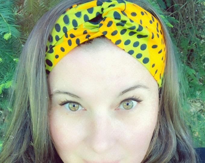 Wax Style Cotton Yellow and Green Knotted  Elasticated Headband, Turban Headband, Fabric Headband, Mother's Day Gift, Women's Gift