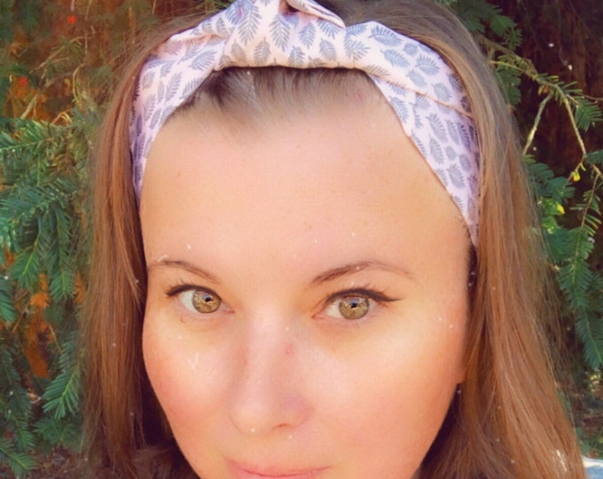 Soft Pink with Leaves Knotted  Elasticated Headband, Turban Headband, Fabric Headband, Mother's Day Gift, Women's Gift