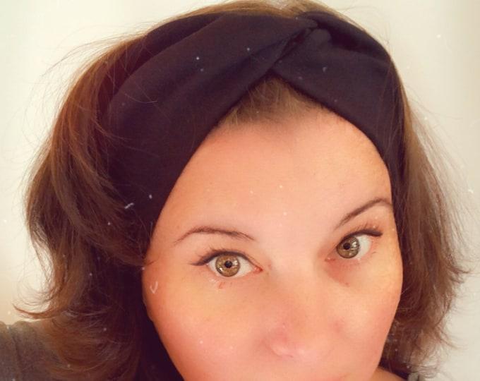 Black plain Knotted Headband, Turban Headband, Fabric Headband, Sports/Yoga headband, Mother's Day Gift, Women's Gift