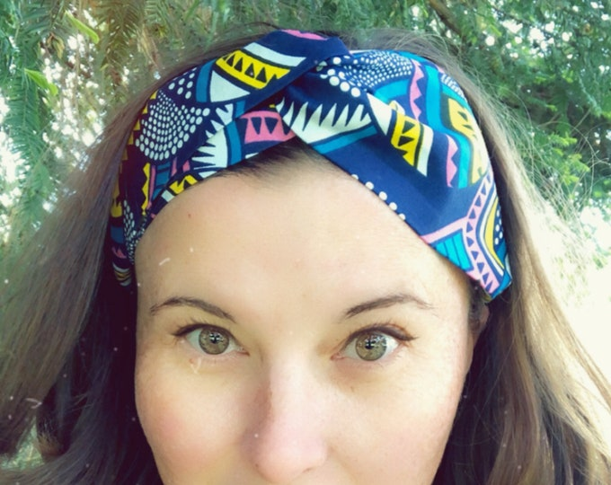 Wax Style Cotton Blue Mix Knotted  Elasticated Headband, Turban Headband, Fabric Headband, Mother's Day Gift, Women's Gift