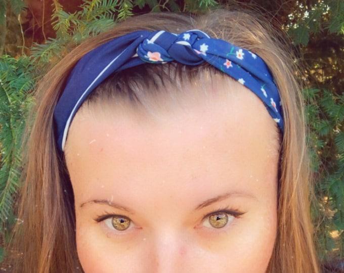 Dark blue with Flowers Knotted  Elasticated Headband, Turban Headband, Fabric Headband, Mother's Day Gift, Women's Gift