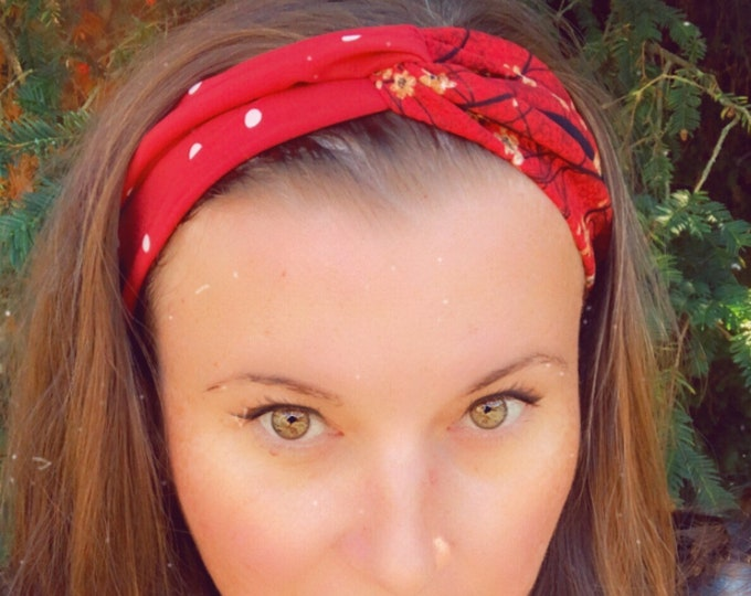 Red with Flowers Knotted  Elasticated Headband, Turban Headband, Fabric Headband, Mother's Day Gift, Women's Gift