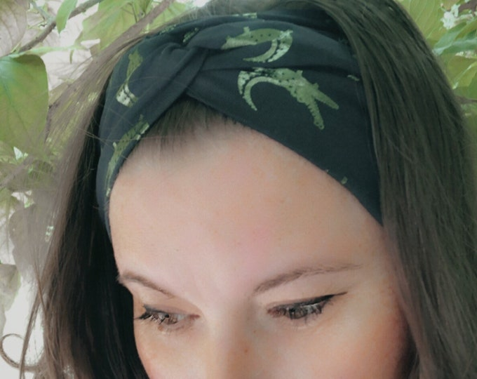Dark blue & foil green crocodiles Knotted Headband, Turban Headband, Fabric Headband, Sports/Yoga headband, Mother's Day Gift, Women's Gift