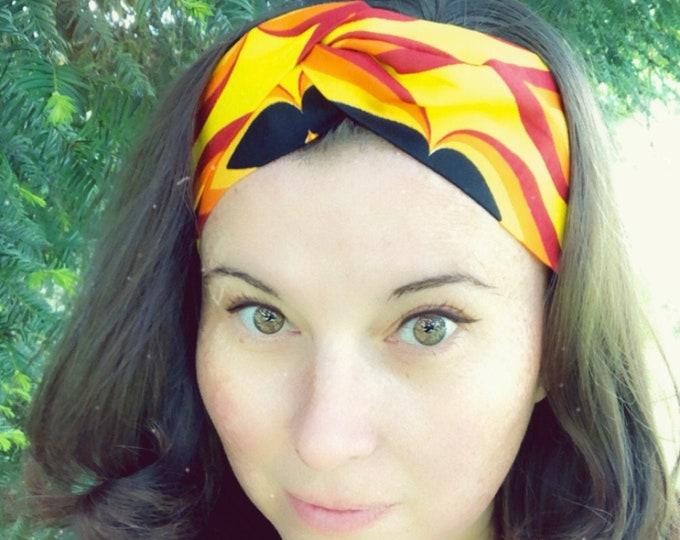 Wax Style Cotton Yellow, Red, Orange Knotted  Elasticated Headband, Turban Headband, Fabric Headband, Mother's Day Gift, Women's Gift