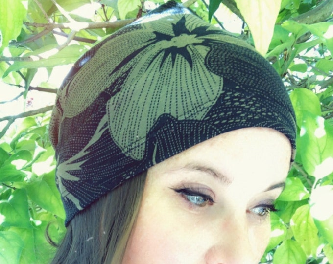 Khaky Flowers Black Slouchy Hat for Hot and Cold Weather, Chemo Sleeping Hat, Kids Hat, Mens Baggy Beanie, Hipster Fashion, Kids Hat
