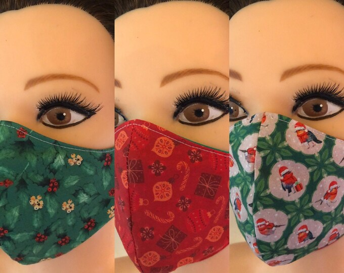 Set of 3 x Washable 3 layers, Reversible Cotton Face Masks Christmas, Robin, Holly, Baubles, Xmas gift