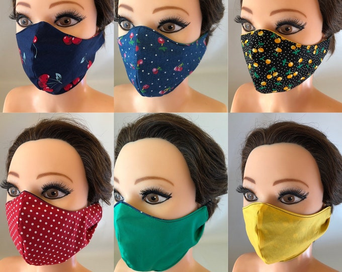 3 x Washable 3 layers, Reversible Cotton Face Mask Cherries collection