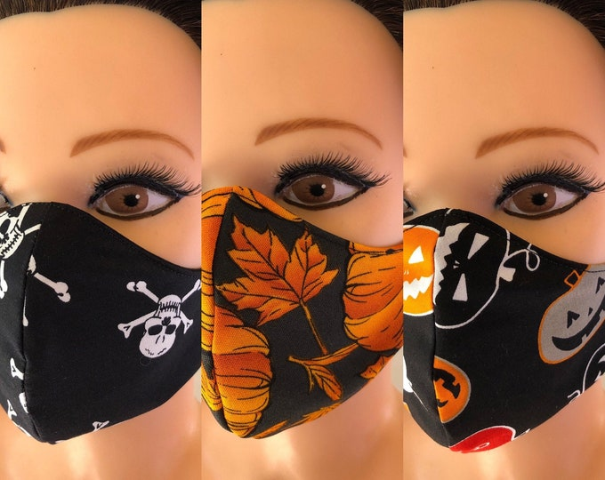 3 x Washable 3 layers, Reversible Cotton Face Mask Halloween collection