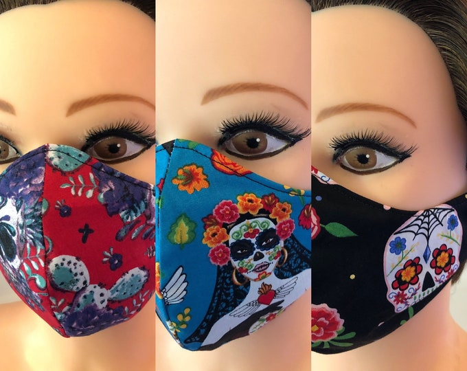 Set of 3 x Washable 3 layers, Reversible Cotton Face Masks Sugar Skulls, Day of the Dead, Halloween, Rockabilly, Skulls