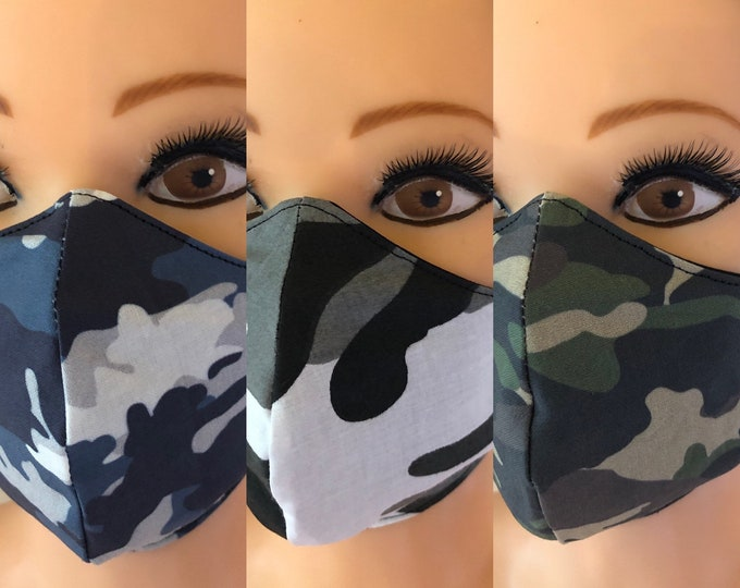 3 x Washable 3 layers, Reversible Cotton Face Masks Camouflage Camo Green Blue Black ans White Pattern
