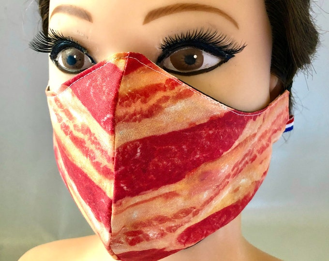 Washable 3 layers, Reversible Cotton Face Mask Bacon and Eggs