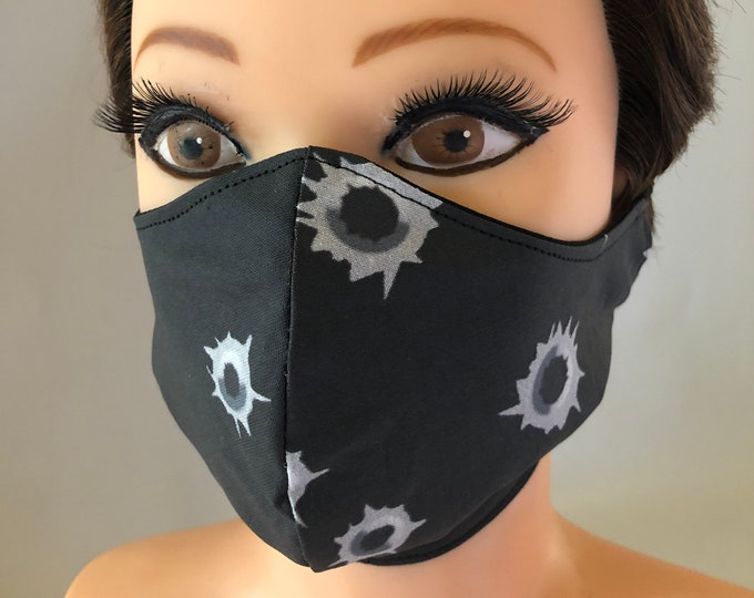Washable 3 layers, Reversible Cotton Face Mask Bullet Holes