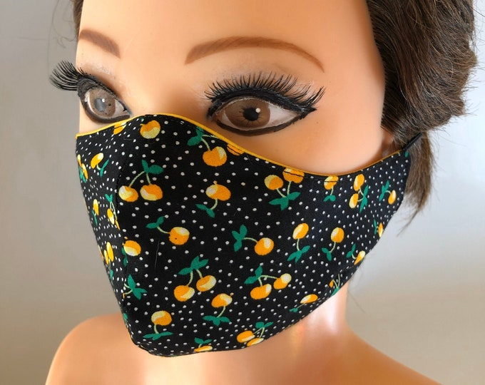 Washable 3 layers, Reversible Cotton Face Mask Cherries and yellow