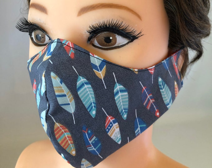 Washable 3 layers, Reversible Cotton Face Mask Birds and feathers
