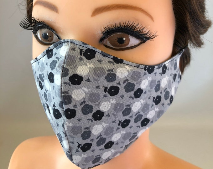 Washable 3 layers, Reversible Cotton Face Mask Shades of gray