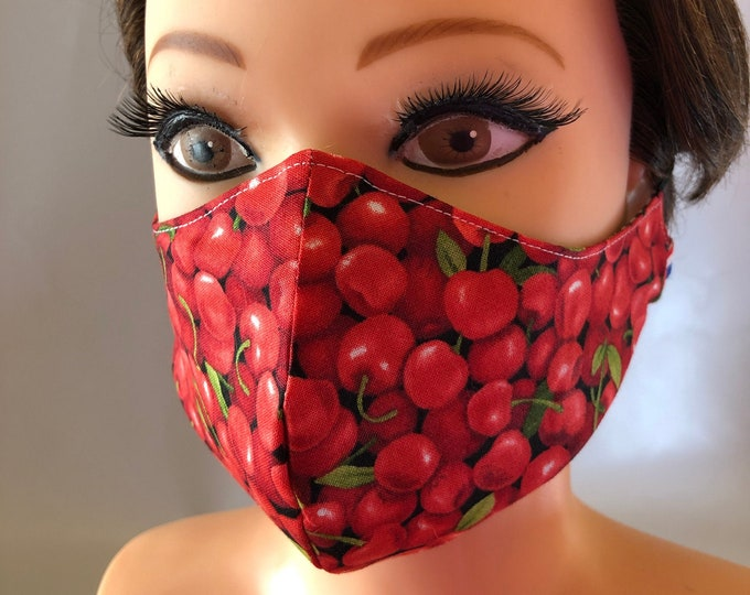 Washable 3 layers, Reversible Cotton Face Mask Red Cherries and Green Flowers