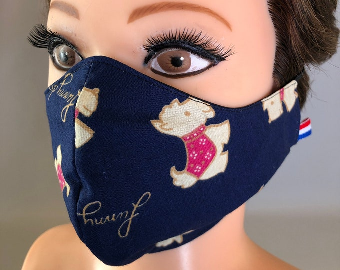 Washable 3 layers, Reversible Cotton Face Mask Dogs and dark blue