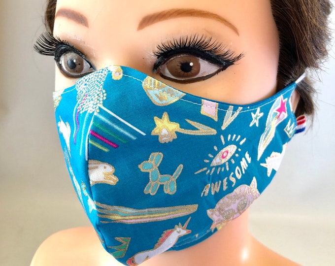 Washable 3 layers, Reversible Cotton Face Mask Awesome fantastic animals with gold and blue