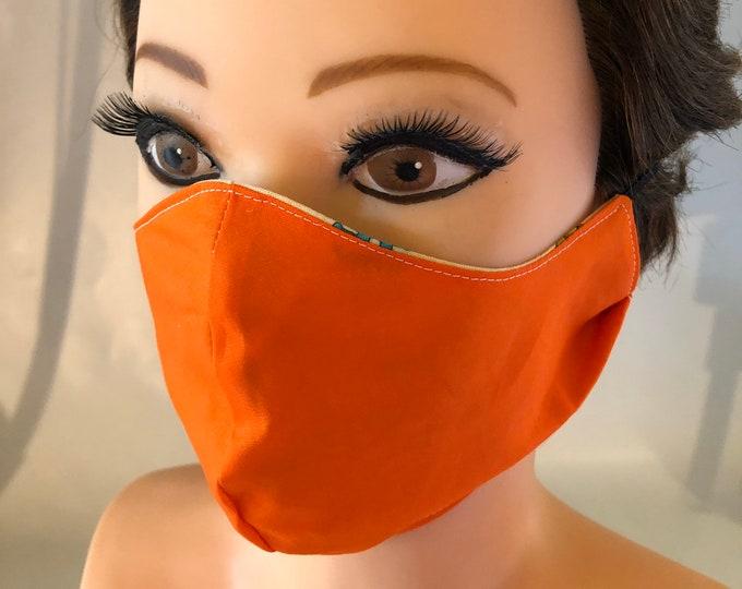 Washable 3 layers, Reversible Cotton Face Mask hunting chasse plain orange both sides