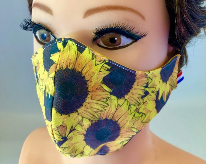 Washable 3 layers, Reversible Cotton Face Mask Sunflowers