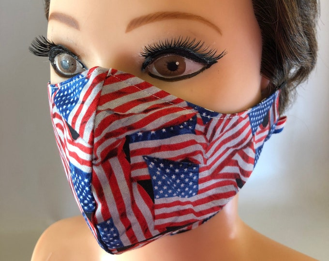 Washable 3 layers, Reversible Cotton Face Mask Patriotic, American Flag and Stars, Stars and Stripes