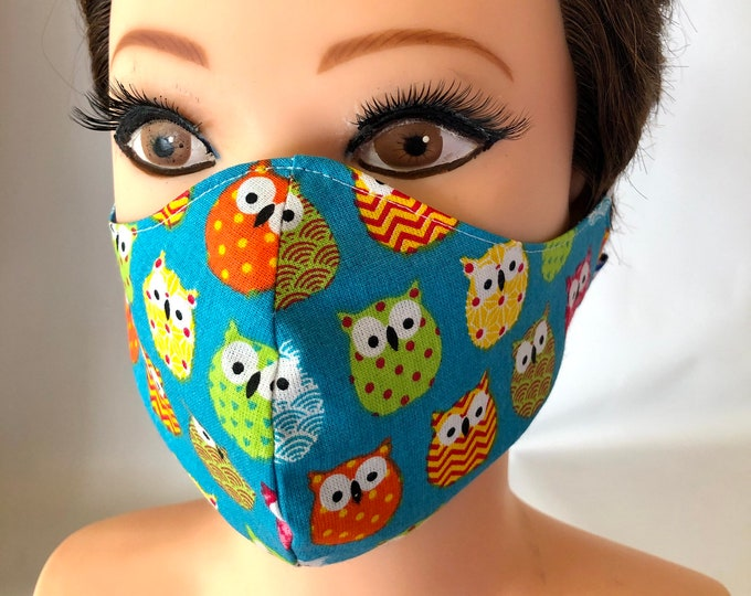 Washable 3 layers, Reversible Cotton Face Mask Colorful Owls