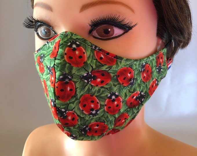 Washable 3 layers, Reversible Cotton Face Mask Ladybirds Ladybugs and Green Flowers