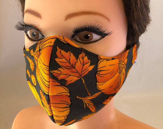 Washable 3 layers, Reversible Cotton Mix Face Mask Autumn Fall Halloween Pumpkins