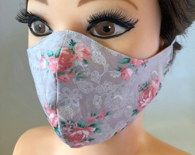 Washable 3 layers, Reversible Cotton Face Mask Shabby chic roses pink salmon stars